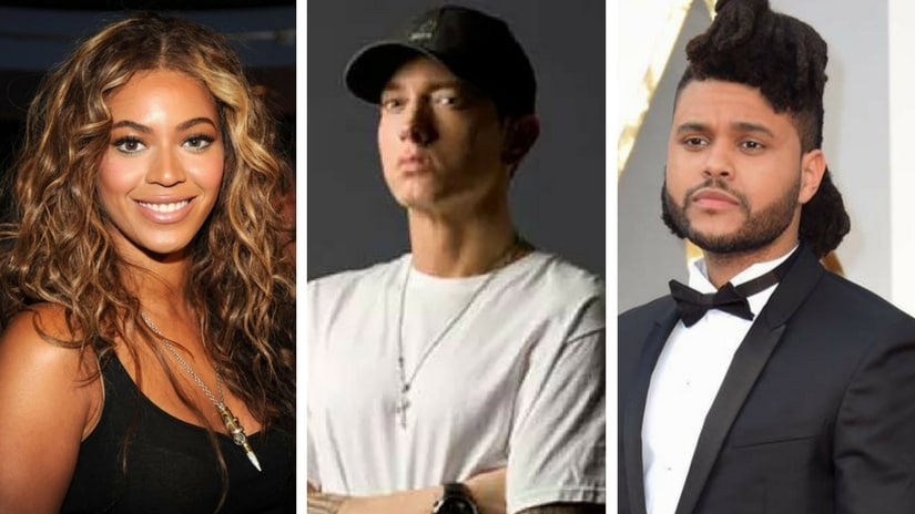 From left: Beyoncé, Eminem and The Weeknd. Images via Facebook