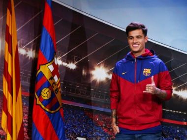 FC Barcelona's new signing Philippe Coutinho during the presentation. Reuters