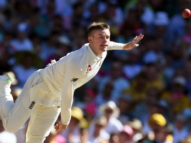 Leg-spinner Mason Crane in action on Day 2 of the Sydney Test. AFP