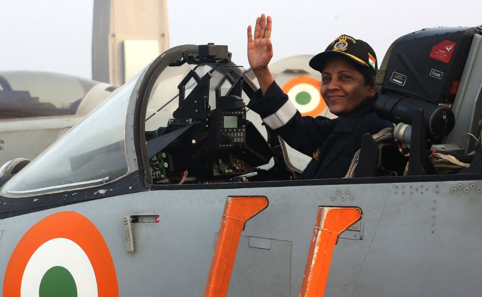 Defence Minister Nirmala Sitharaman on Tuesday reviewed the maritime prowess of the Indian Navy in a two-day event at Indian Naval Base INS Hansa in Goa, where she boarded several naval ships and witness live naval operations. Twitter @PIB_India