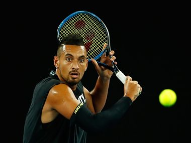 Nick Kyrgios during a practice session ahead of the Australian Open. Image courtesy: Twitter @AustralianOpen