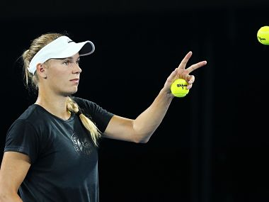 Caroline Wozniacki during a practice session ahead of the Australian Open. Image courtesy: Twitter @Australian Open