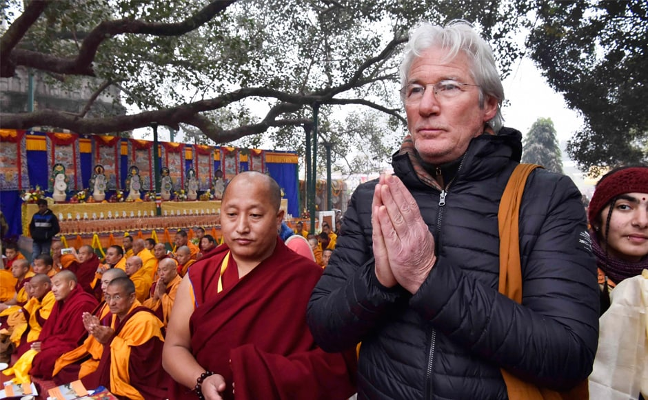 Hollywood actor Richard Gere also arrived at the Mahabodhi Temple to attend the teachings of the Dalai Lama. PTI