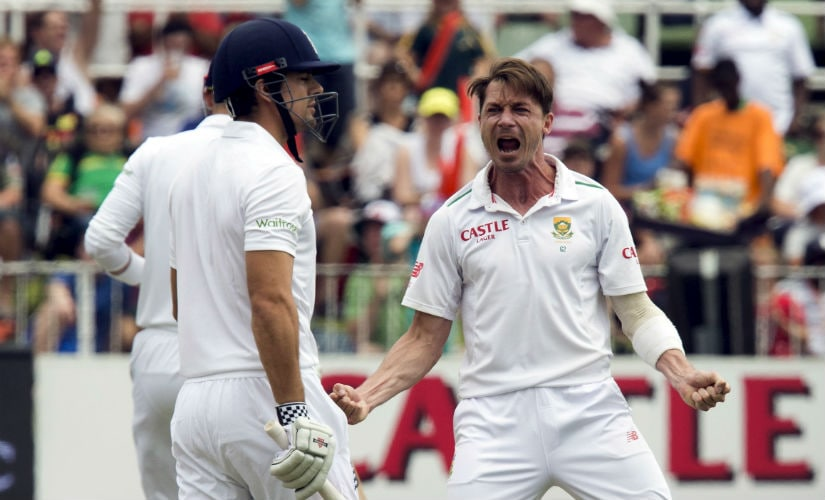 Dale Steyn celebrates after dismissing then-England captain Alastair Cook in Durban. Reuters