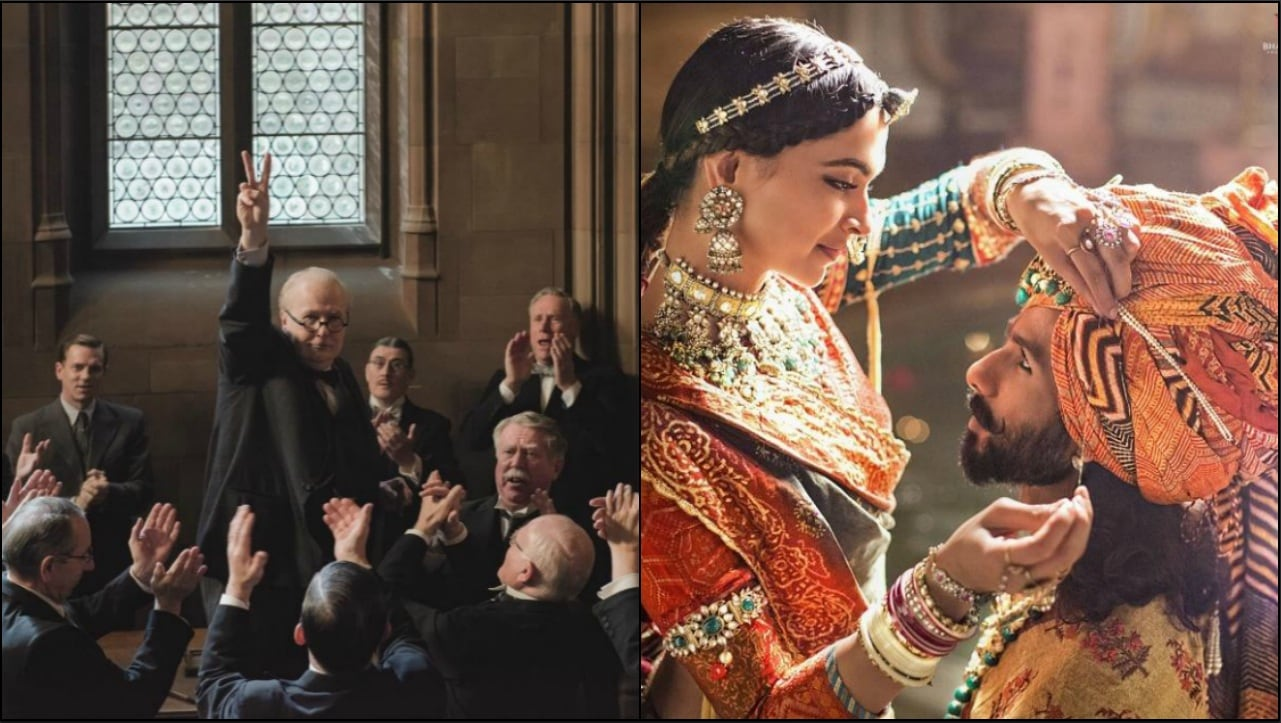 The movie posters of Darkest Hour (left) and Padmaavat.