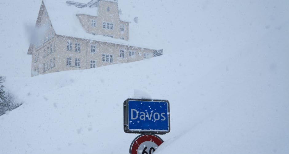 Meanwhile, the resort town of Davos was receiving heavy snowfall while the World Economic Forum was underway. AP