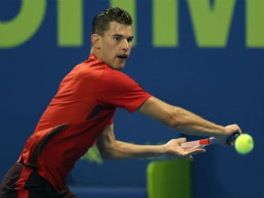 Dominic Thiem in action against Evgeny at the Qatar Open. AFP