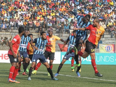 East Bengal players in action against Minerva Punjab FC on Tuesday. I-League.