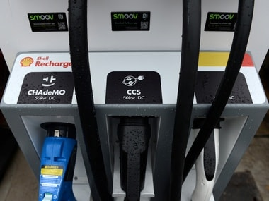 Electric car chargers are seen at the Holloway Road Shell station in London, Britain. Image: Reuters