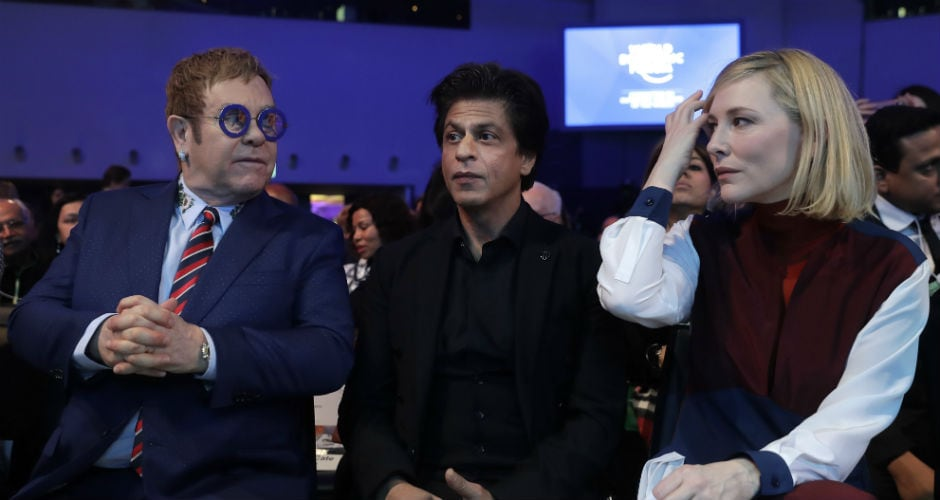 On Monday, Bollywood actor Shah Rukh Khan along with Hollywood actress Cate Blanchett and musician Elton John received the Crystal award on the sidelines of the annual economic summit. AP