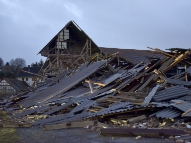 An agricultural building is collapsed during a heavy storm in Meimbressen, central Germany. AP