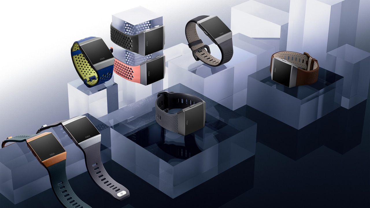 Still photography of Ionic family featuring all colors of in-box, sport, and leather bands.