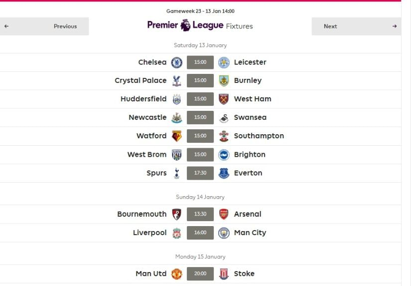 Gameweek 23 fixtures