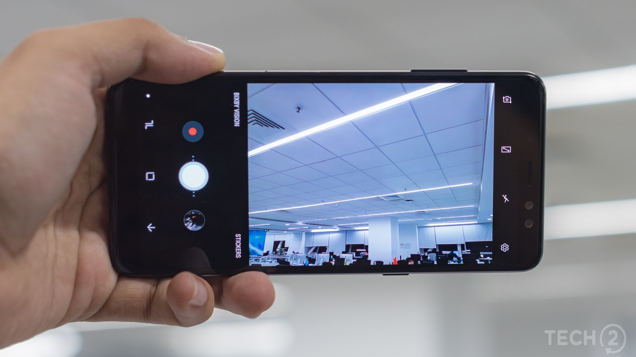 The camera module on the Galaxy A8 Plus. Image: tech2/ Rehan Hooda