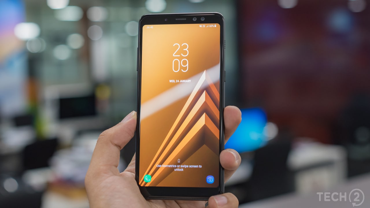 The Samsung Galaxy A8 Plus ships with Android Nougat 7.1.1 with no mention of Oreo arriving anytime soon. Image: tech2/ Rehan Hooda
