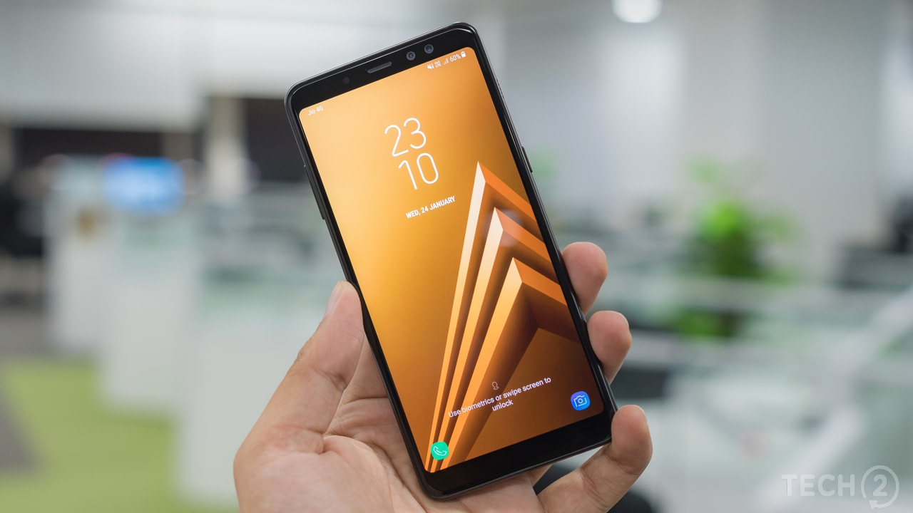 The Samsung Galaxy A8 Plus features a 6-inch Super AMOLED panel. The Galaxy A8 Plus comes with support for two SIM cards and a dedicated microSD card slot. Image: tech2/ Rehan Hooda
