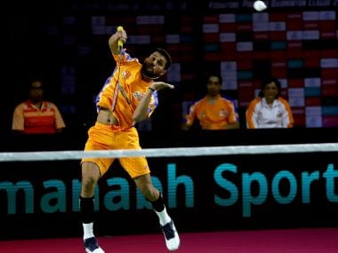Ahmedabad Smash Masters' HS Prannoy in action against North Eastern Warriors. IMage courtesy: PBL
