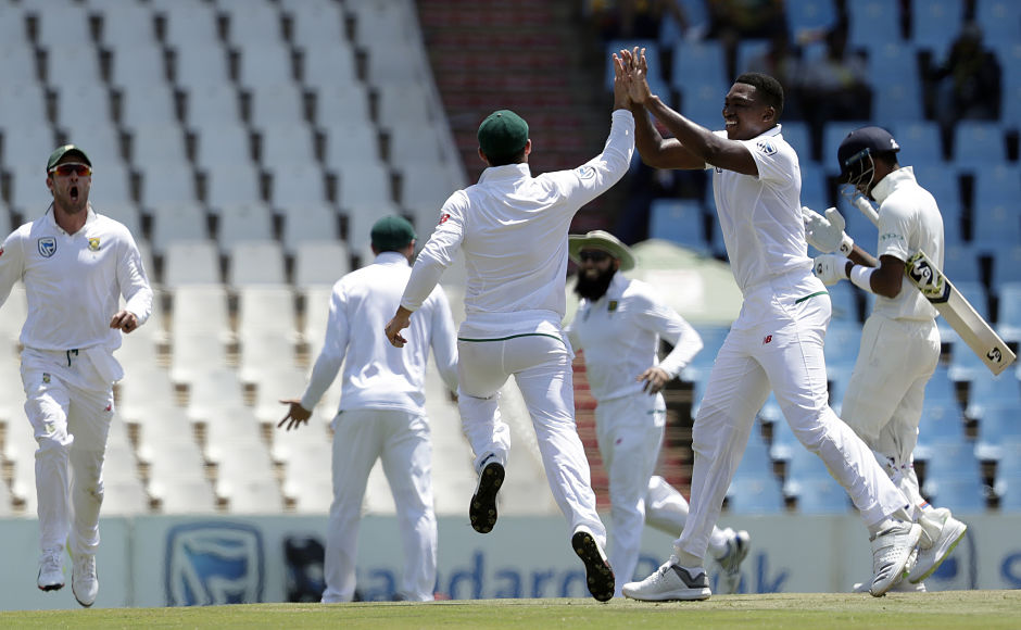 South Africa's Lungi Ngidi celebrates with teammates after dismissing India's batsman Hardik Pandya for 6 runs shortly after Cheteshwar Pujara became the first Indian batsman to be run out in both the innings. AP