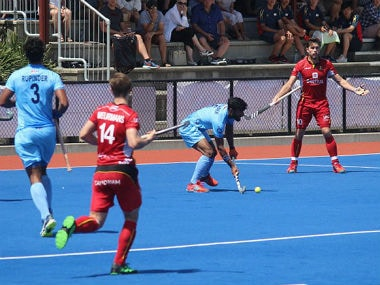 Indian and Belgian players in action during the final of the Four Nations Invitational Tournament. Image credit: Twitter/@TheHockeyIndia