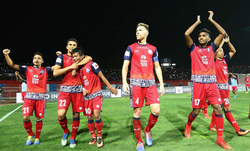 Jamshedpur FC players celebrate their victory. ISL