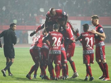 Jamshedpur FC registered their first home win after beating Kerala Blasters at the JRD Tata Sports Complex in Jamshedpur. Image Courtesy: ISL