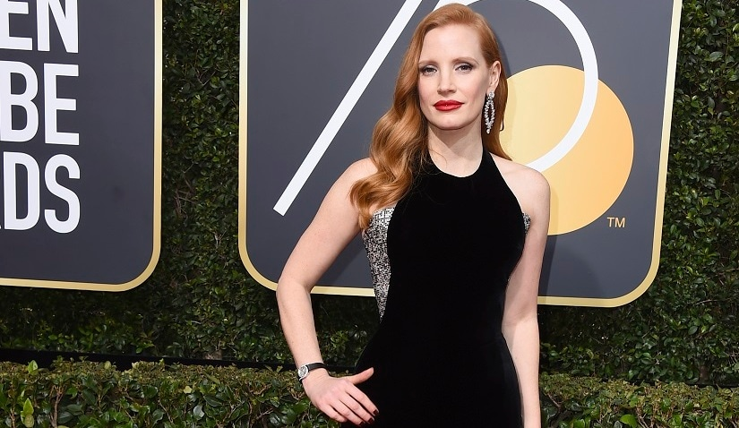 Jessica Chastain arrives at the 75th annual Golden Globe Awards at the Beverly Hilton Hotel on Sunday, Jan. 7, 2018, in Beverly Hills, Calif. (Photo by Jordan Strauss/Invision/AP)