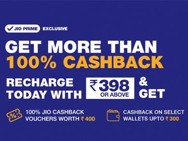Jio offers 100 percent cashback and more on recharges of Rs 398 and above