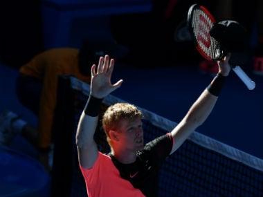 Britain's Kyle Edmund celebrates beating Bulgaria's Grigor Dimitrov in their men's singles quarter-finals match. AFP