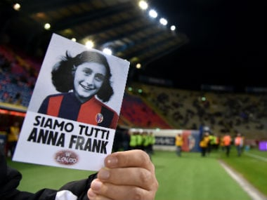 Picture of Anne Frank ahead of Lazio's match against Bologna. Reuters
