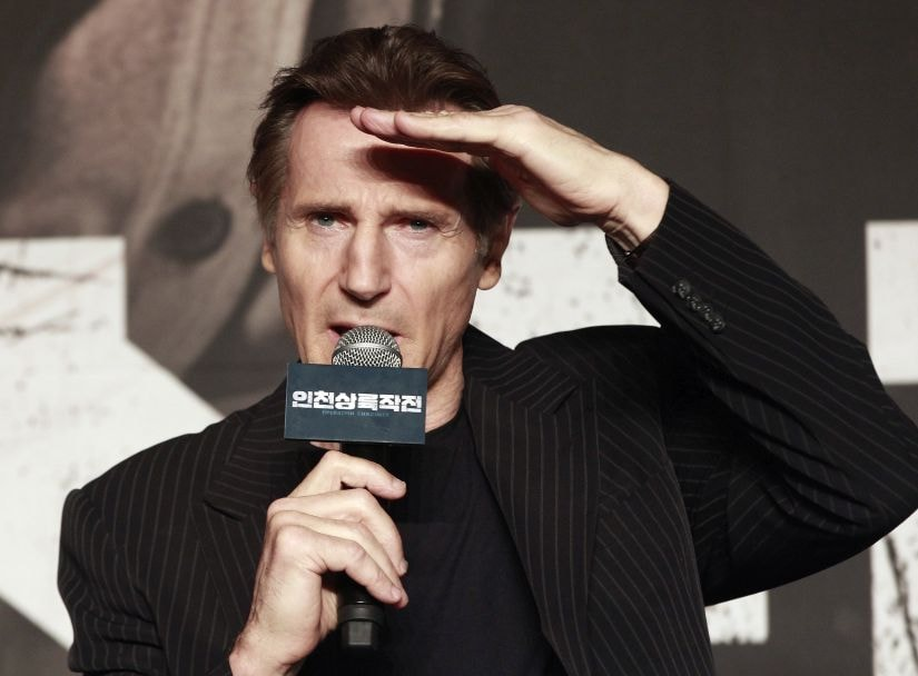 """FILE - In this Wednesday, July 13, 2016 file photo, Irish actor Liam Neeson speaks during a press conference to promote his new film """"Operation Chromite"""" in Seoul, South Korea. Actor Liam Neeson says that the Hollywood sexual harassment scandal has sparked """"a bit of a witch hunt."""" (AP Photo/Ahn Young-joon, File)"""