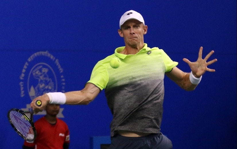Kevin Anderson in action during the semi-final clash against Benoit Paire. Maharashtra Open