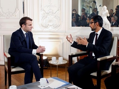 French President Emmanuel Macron (L) attends a meeting with Google CEO, Sundar Pichai in Paris. Image: Reuters