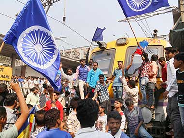 Dalit groups protesting at Thane railway station during the Maharashtra Bandh on Wednesday following clashes between two groups in Bhima Koregaon near Pune. PTI