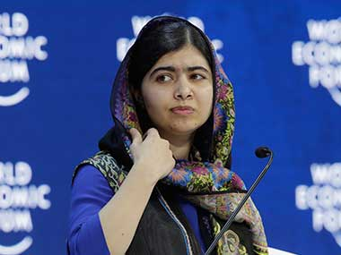 Nobel laureate Malala Yousafzai attends the annual meeting of the World Economic Forum in Davos, Switzerland. AP