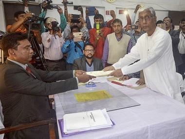 Tripura chief minister Manik Sarkar submits nomination for Tripura Assembly election. PTI