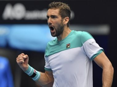 Marin Cilic celebrates after defeating Pablo Carreno Busta in their fourth round match. AP