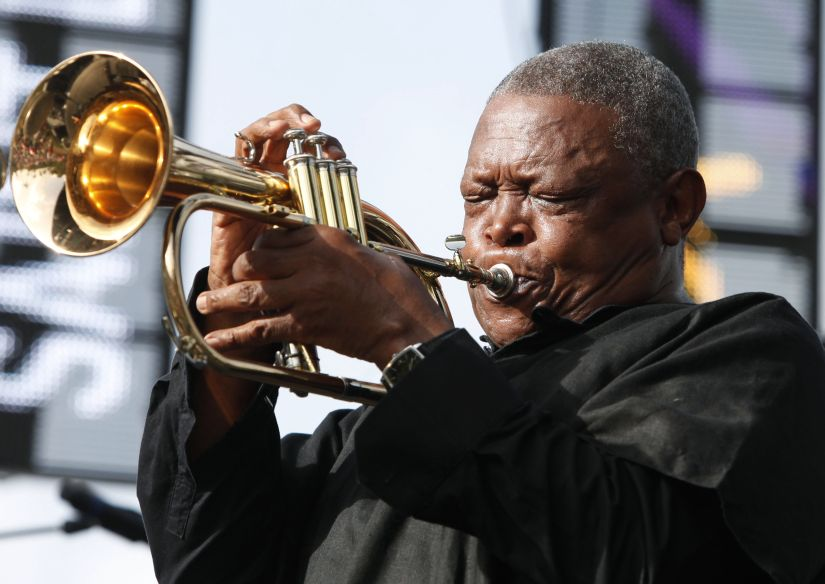 South African trumpeter and musician Hugh Masekela performs on the final day of the 21st Annual St. Lucia Jazz festival at Pigeon Island National Landmark, May 13, 2012. REUTERS/Andrea De Silva (ST. LUCIA - Tags: ENTERTAINMENT) - GM1E85E1CE601