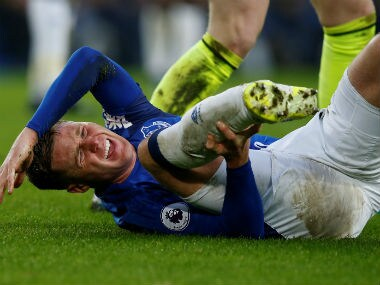 Everton's James McCarthy reacts after sustaining an injury in a challenge with West Bromwich Albion's Salomon Rondon. Reuters