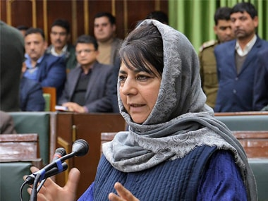 Jammu and Kashmir Chief Minister Mehbooba Mufti speaks during the  Budget Session at J & K legislative assembly in Jammu on Wednesday. PTI