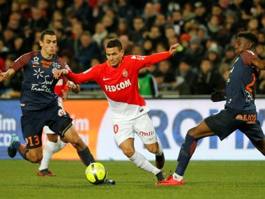 Montpellier's Ellyes Skhiri in action with Monaco's Rony Lopes. Reuters