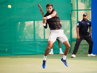 India's Sumit Nagal in action during the first-round match of ATP World Tour 250 series at Mahalunge Balewadi Stadium in Pune. PTI