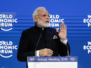 Prime Minister Narendra Modi delivers his speech at the World Economic Forum in Davos. AP