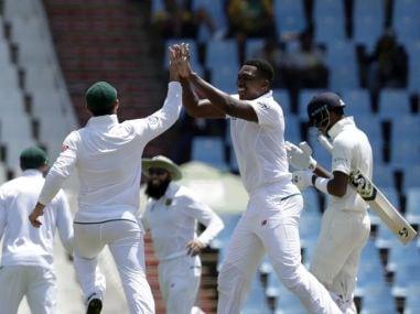 Lungi Ngidi celebrates the wicket of Hardik Pandya in Centurion. AP