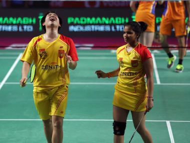 Kim Sa Rang and N Sikki Reddy celebrate after winning their mixed doubles match. Image courtesy: Twitter/@PBLIndiaLive