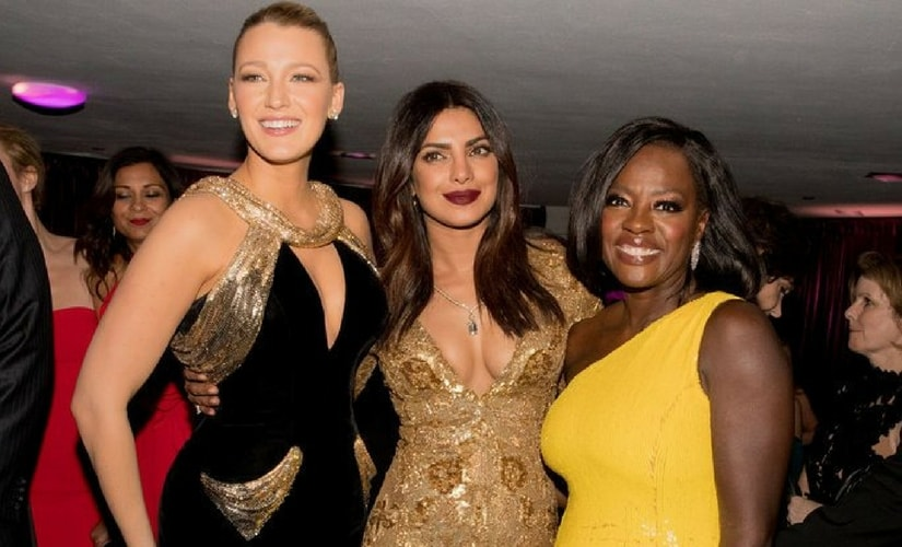Priyanka Chopra (middle) at the 2017 Golden Globe Awards with Blake Lively (left) and Viola Davis (right)/Image from Twitter @PortalGGBrasil.