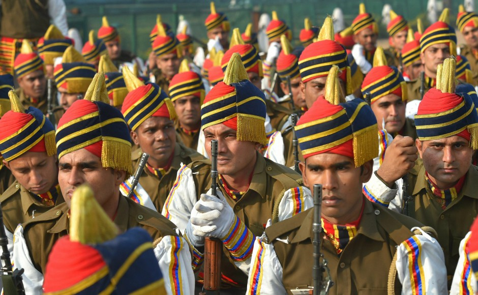 Delhi Police contingent during rehearsals ahead of the Republic Day parade. Security has been beefed up in Delhi-NCR, ahead of the Republic Day celebrations. PTI
