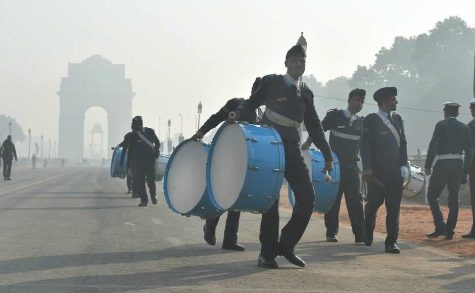 Navy band personnel during rehearsals ahead of the Republic Day parade. PTI