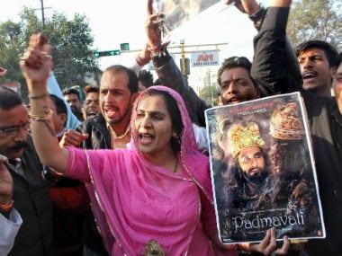 Karni Sena members protest against Padmaavat in Bhopal. PTI