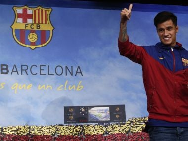 Philippe Coutinho poses for the media at the Camp Nou stadium in Barcelona after his transfer from Liverpool. AP