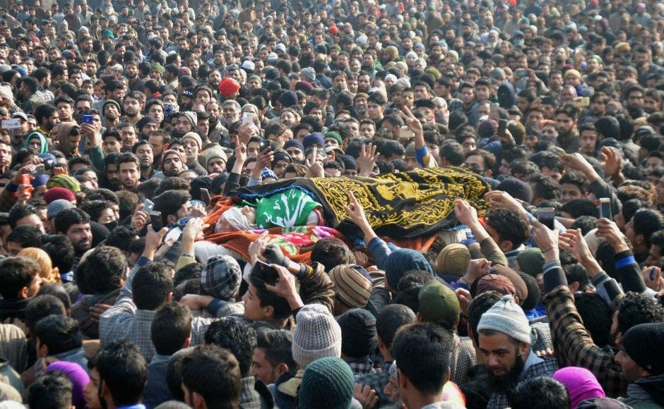 Thousands attend funeral of slain Hizbul Mujhadeen militant Farhan Wani in Jammu and Kashmir's Kulgam
